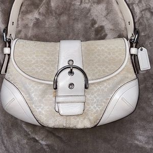 Small Cream with White COACH Shoulder Bag